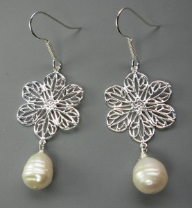 flower filigree and pearl earrings