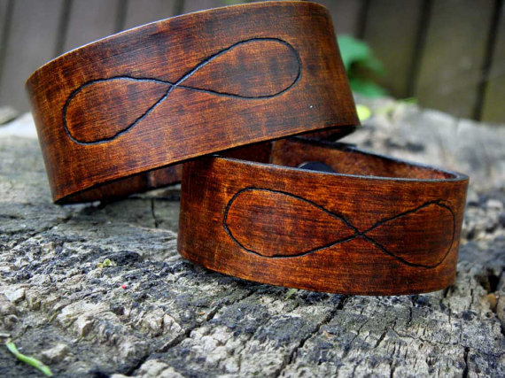 eternity leather handmade cuffs on etsy