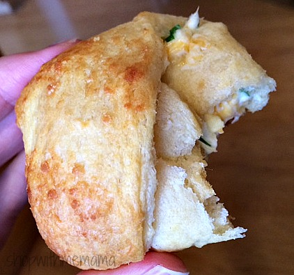 cream cheese, green onion and cheddar cheese stuffed croissants