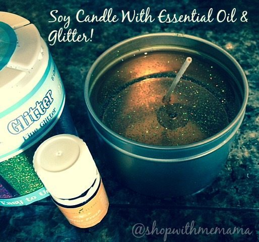 soy candles with essential oils and glitter