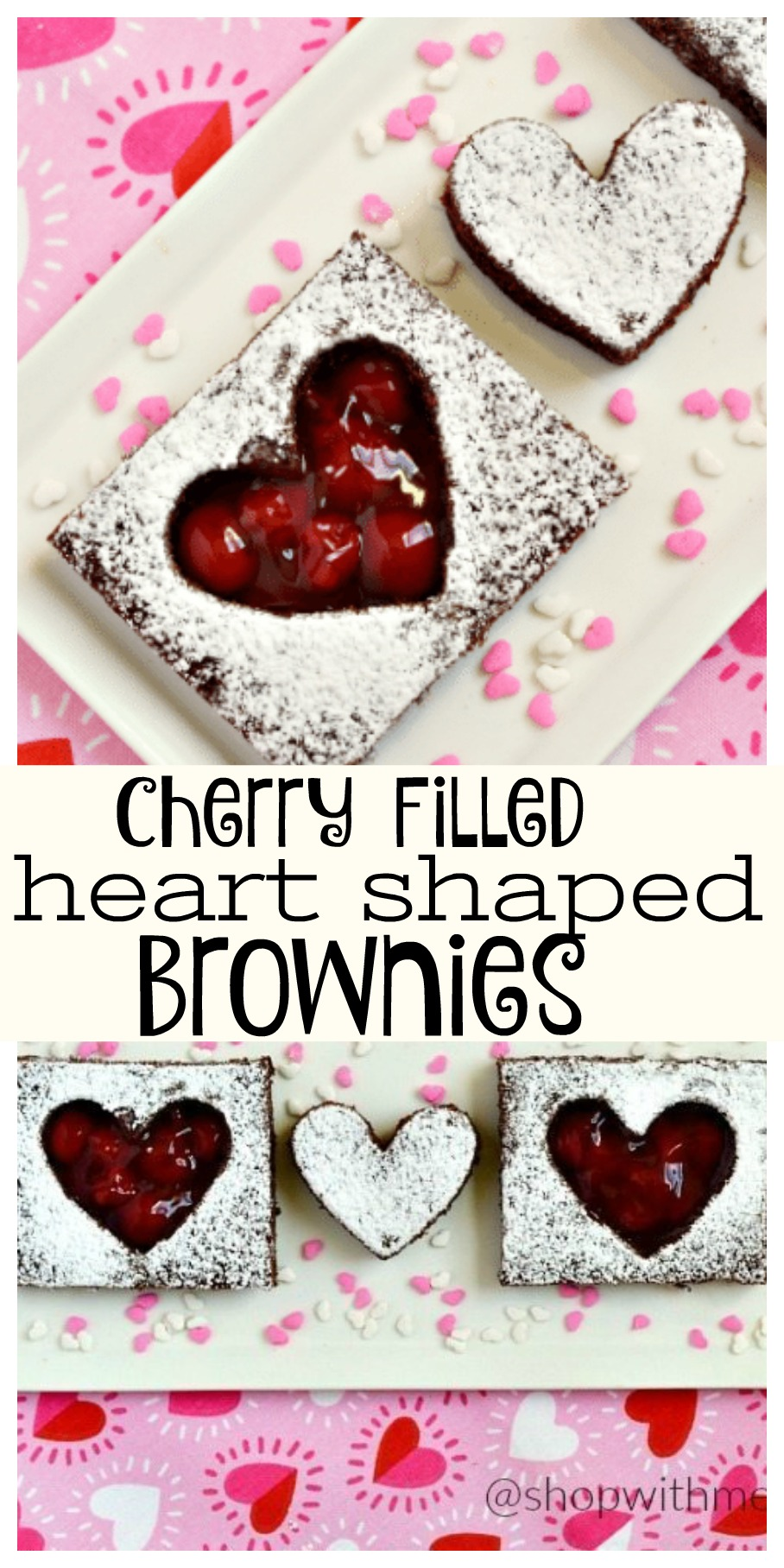 Heart Shaped Brownies With Cherry Filling