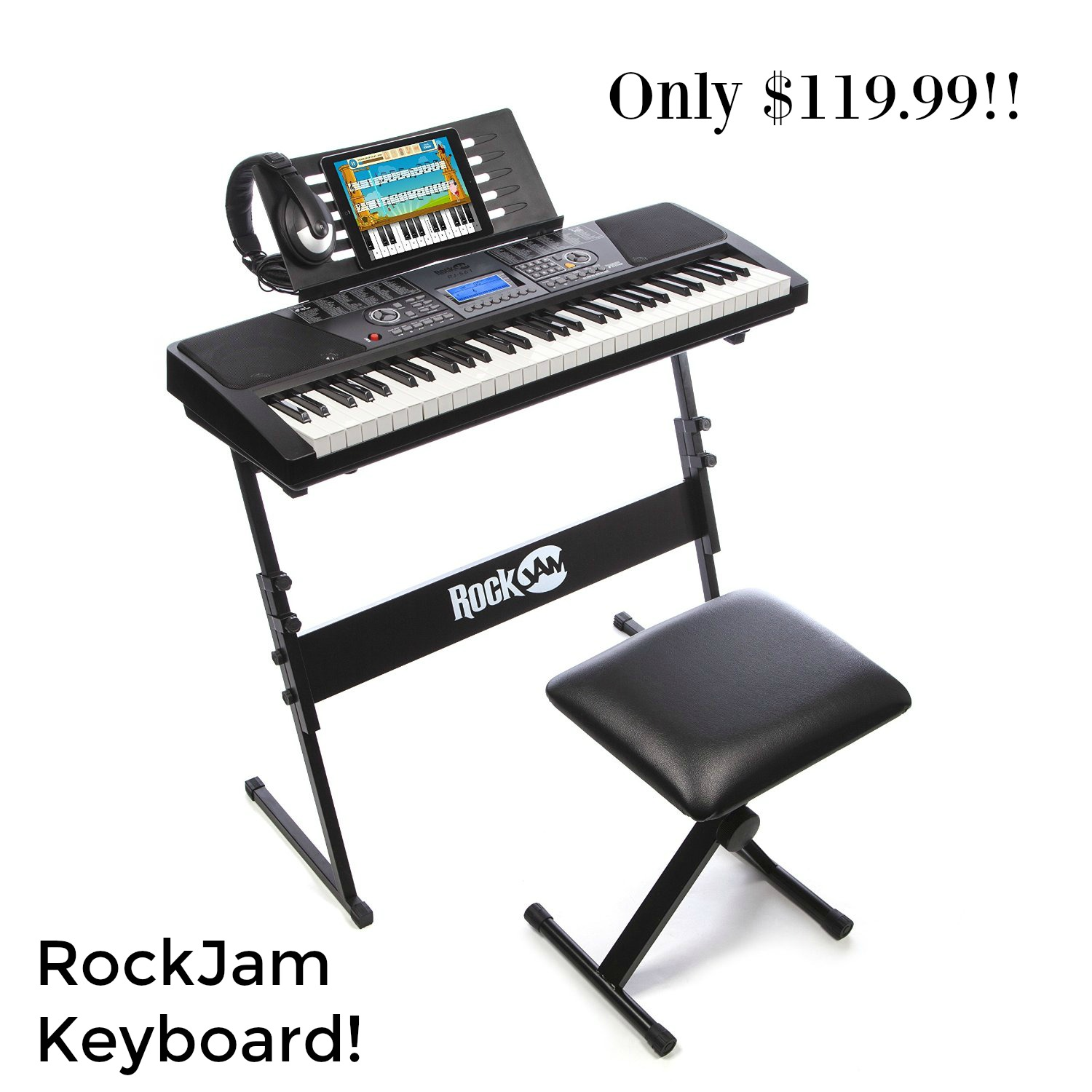 RockJam 561 Electronic 61 Key Digital Piano Keyboard SuperKit