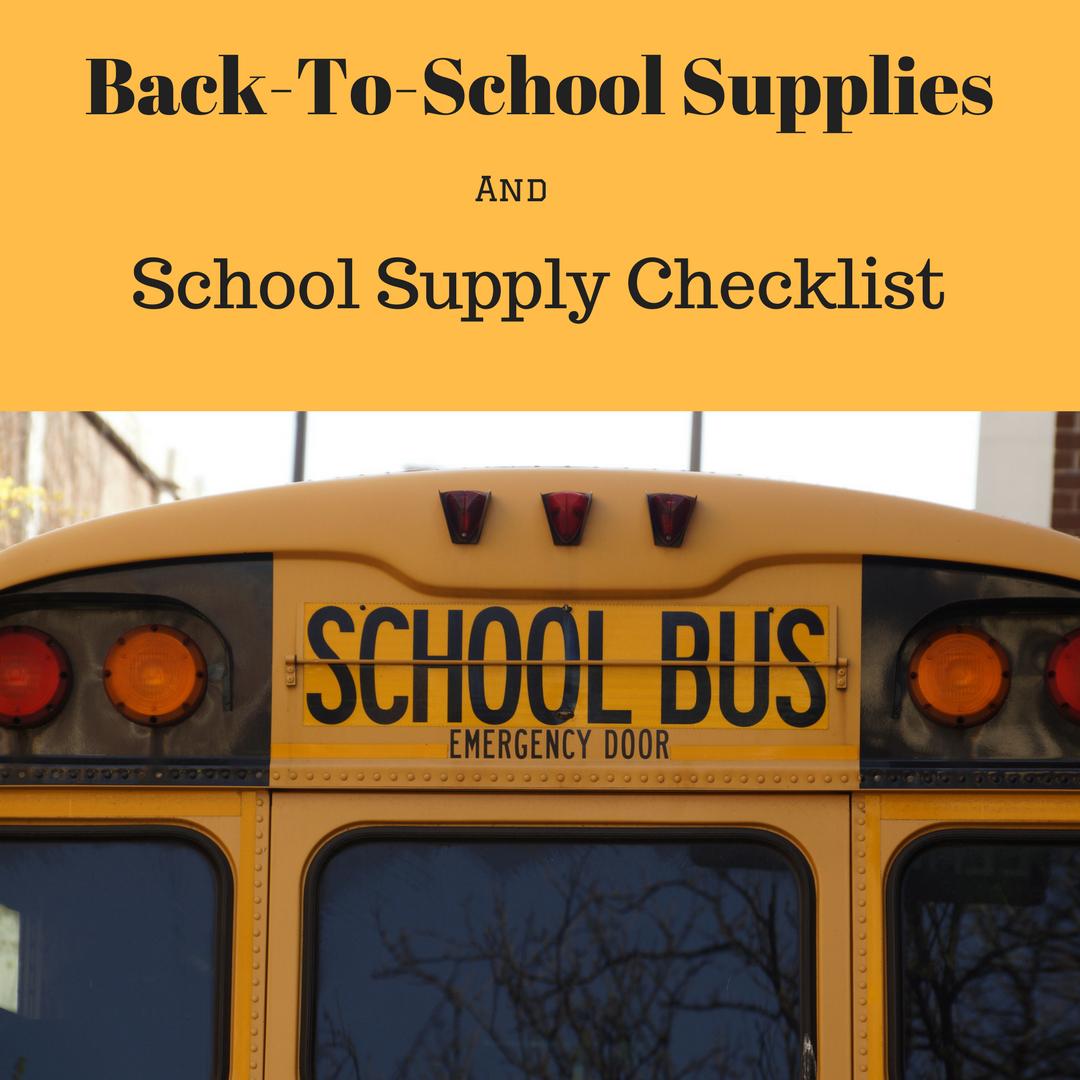 Printable School Supply Checklist