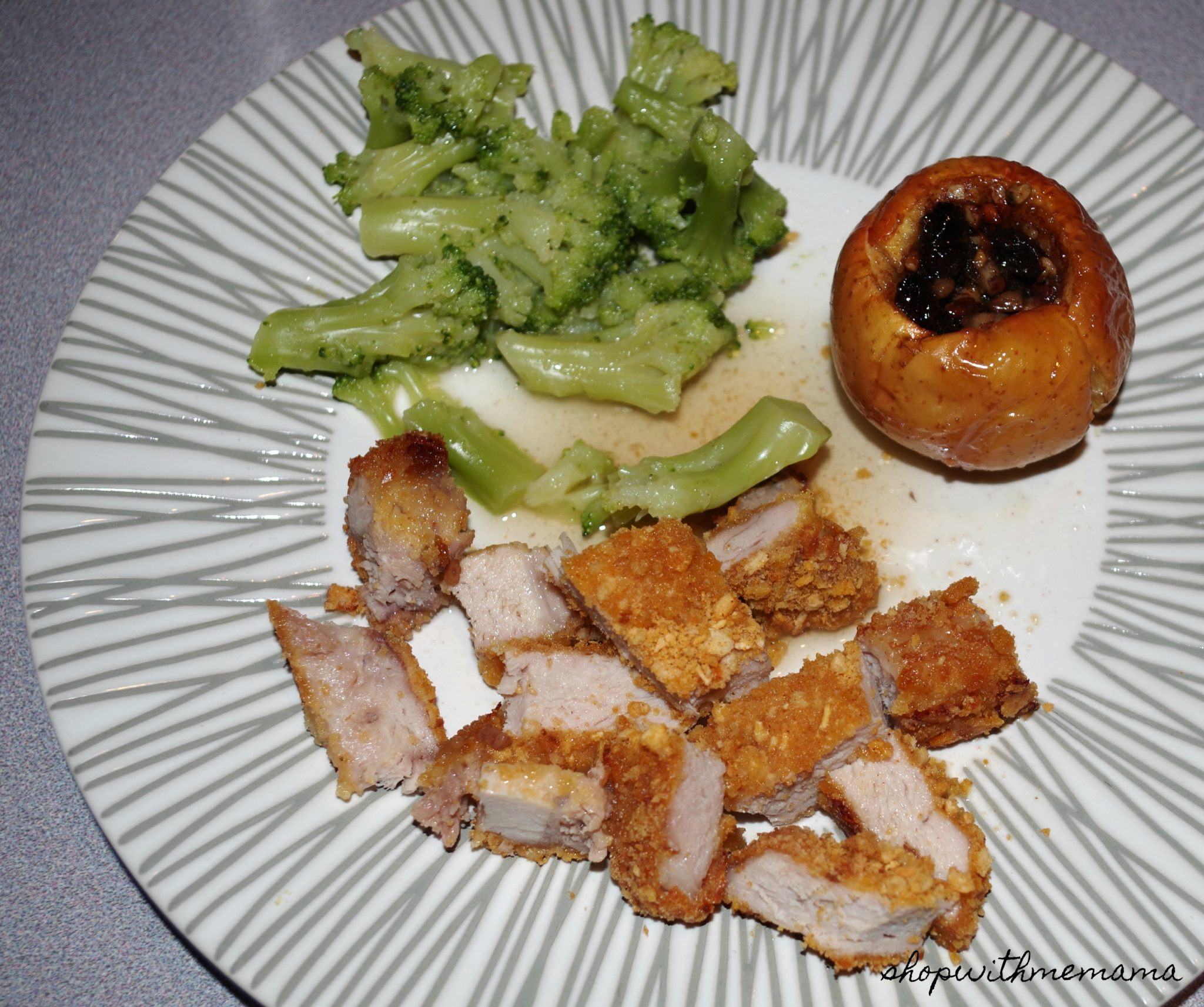 Fried Pork Chops And Stuffed Baked Apples
