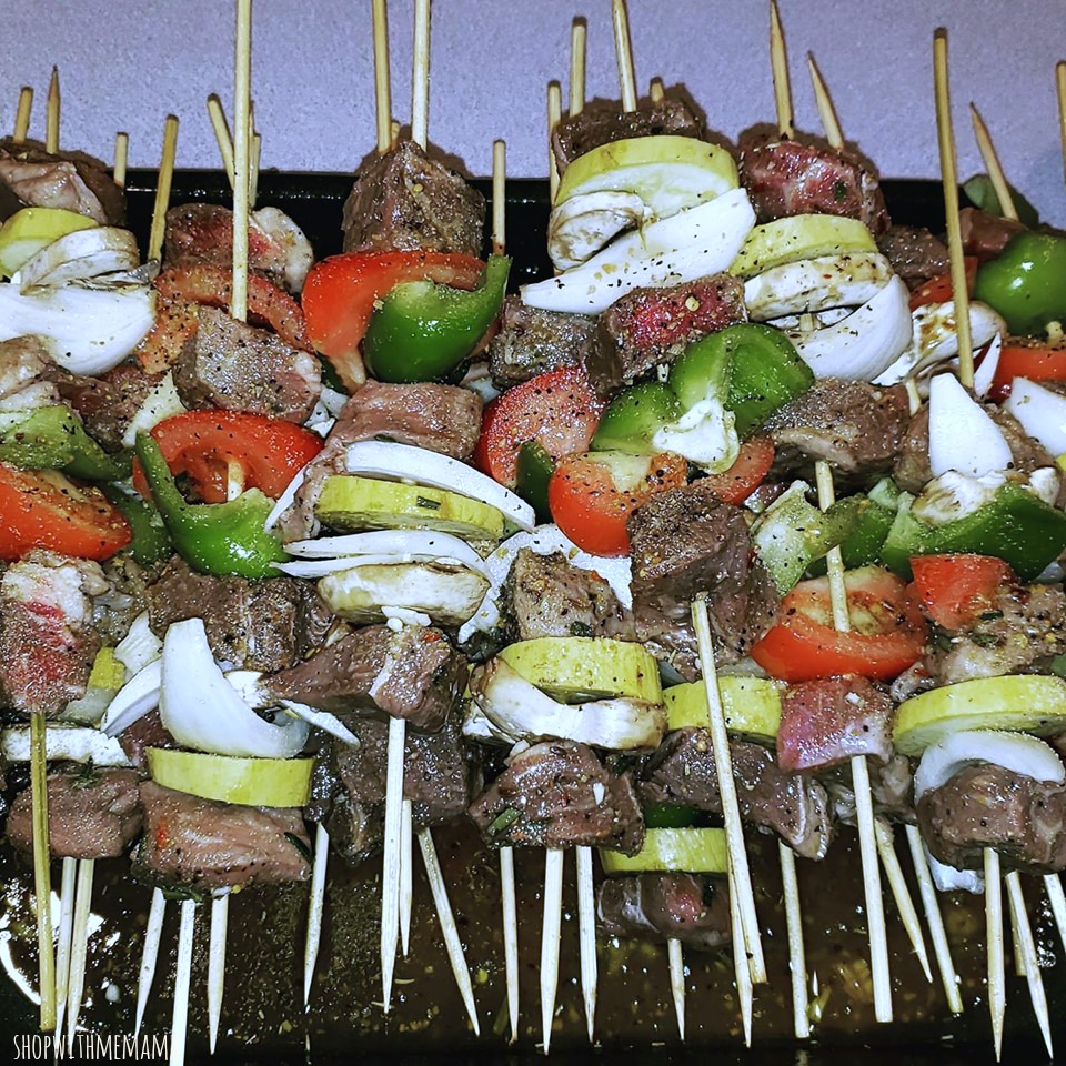 beef and vegetables skewers for tailgating