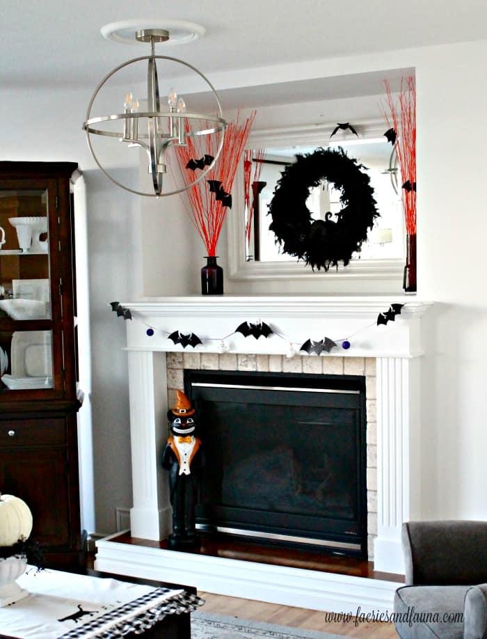 DIY Halloween Mantel Decorations