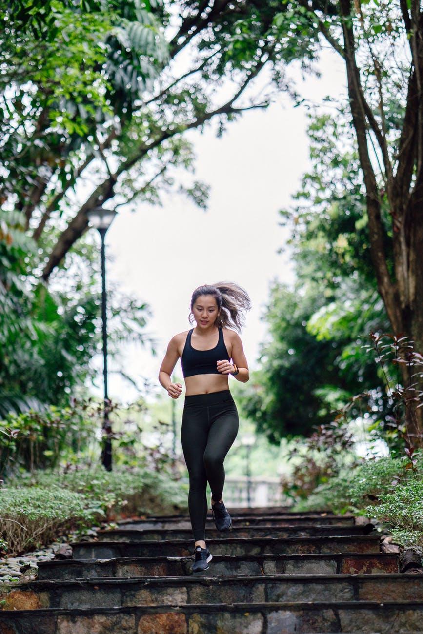 woman running super duper fast