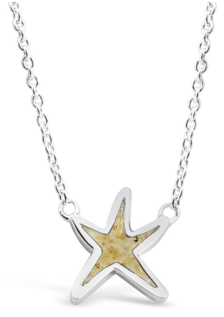 Delicate Starfish Stationary Necklace by Dune Jewelry: The starfish evokes memories of your favorite days at the beach as well as evenings beneath the celestial sky. Our .925 Starfish Stationary Necklace allows you to carry a tangible reminder of your favorite travels indefinitely. This delicate sterling silver necklace is adjustable from 16