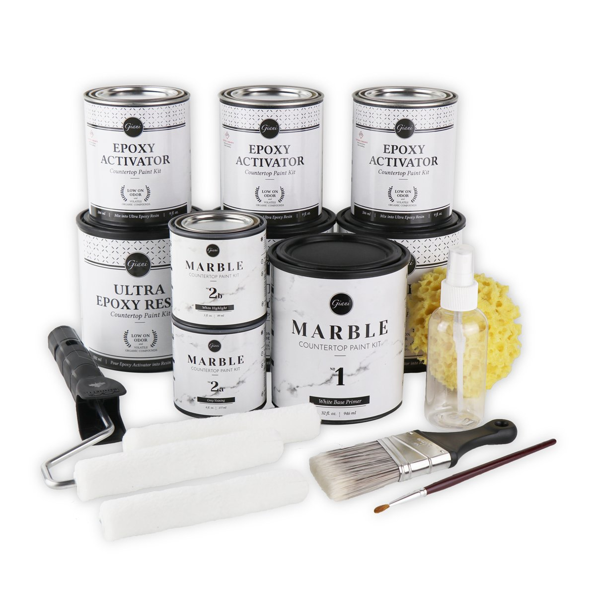 Giani Marble Countertop Paint Kit includes