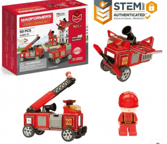 Amazing Rescue 50-Piece Set: Click and create your own adventure with Magformers AMAZING Rescue 50-Piece Set! Magformers are a magnetic construction toy where the possibilities are endless. Build and create your own fire adventure. Build a fire station and fire truck, add wheels and fire accessories. This 50 piece set comes with 24 magnetic pieces, 2 characters and emergency vehicle accessories and much more to keep the city safe. Great for children aged 3 and up.