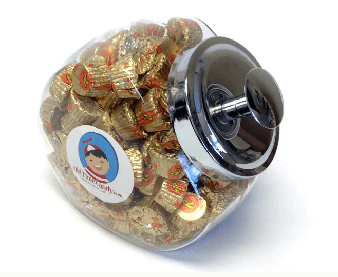 Glass Candy Jar with Reese's Mini Peanut Butter Cups from Old Time Candy! Dad will love nibbling away at these delicious candies! No, he does NOT have to share!