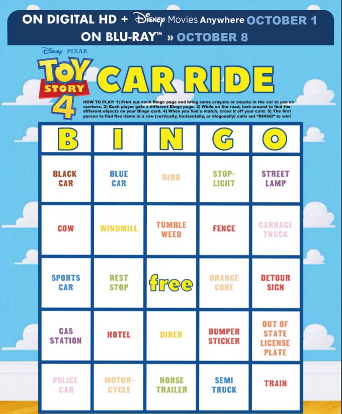 Toy Story 4 Car Ride Bingo Game