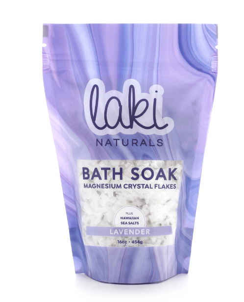 Laki Naturals LAVENDER BATH SOAK: Turn bath time into a restorative ritual with Laki Naturals therapeutic Bath Soaks. Our special blend of Zechstein magnesium flakes and Hawaiian sea salt will reduce stress, promote sleep, and soothe achy muscles! Lavender - A calming, herbal blend with a touch of sweetness.