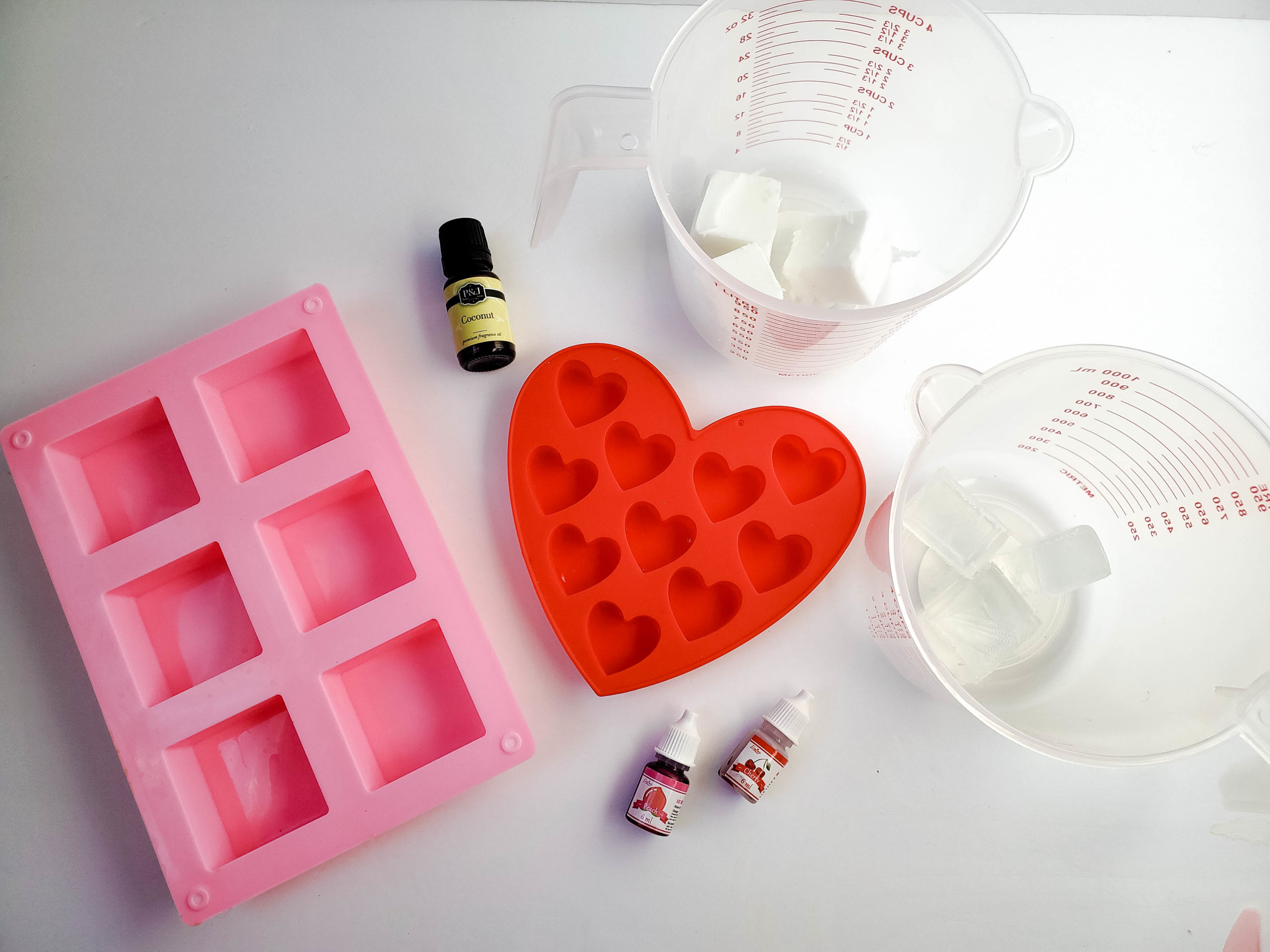 Coconut Valentine's Soaps with Hearts ingredients