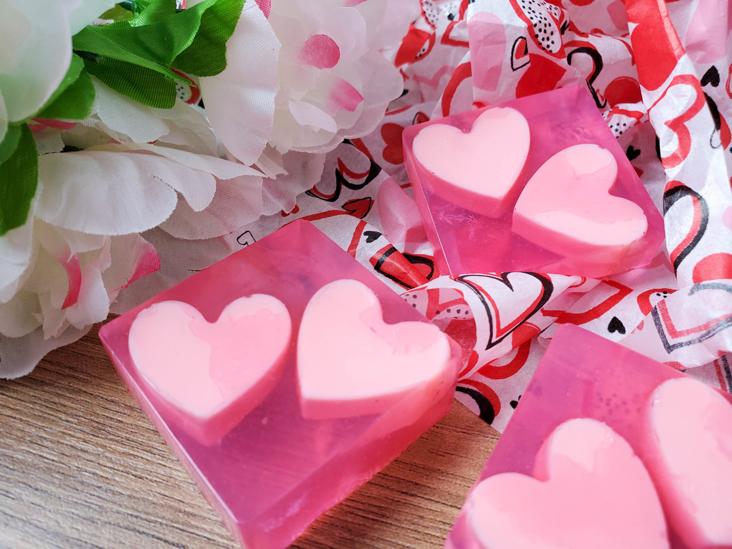 Coconut Valentine's Soaps with Hearts