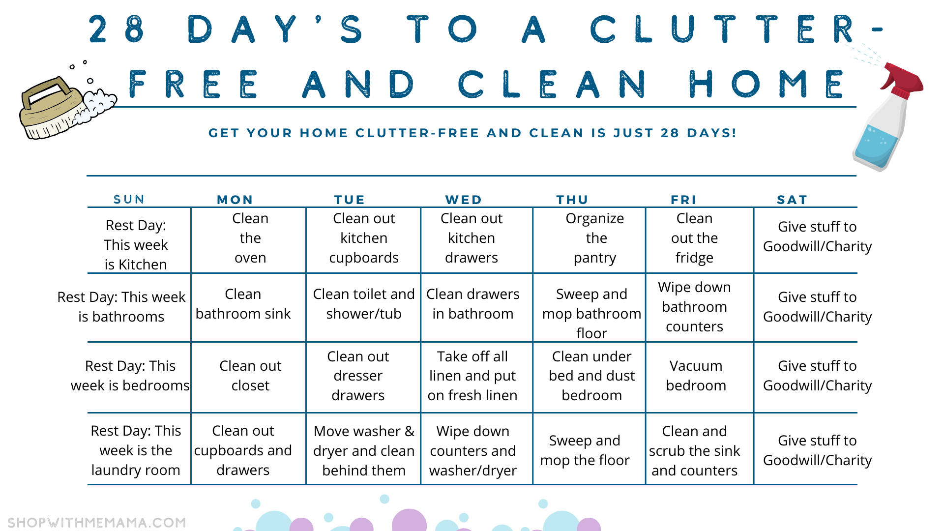 28 days to a clutter free and clean home printable