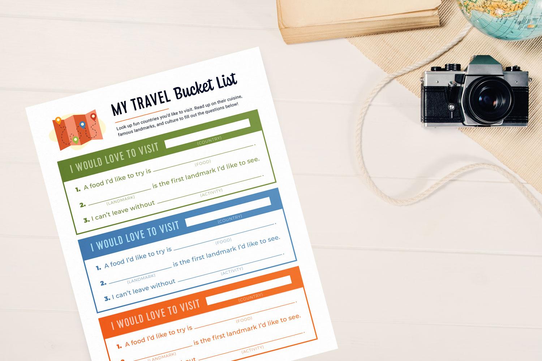 travel bucket list free printable