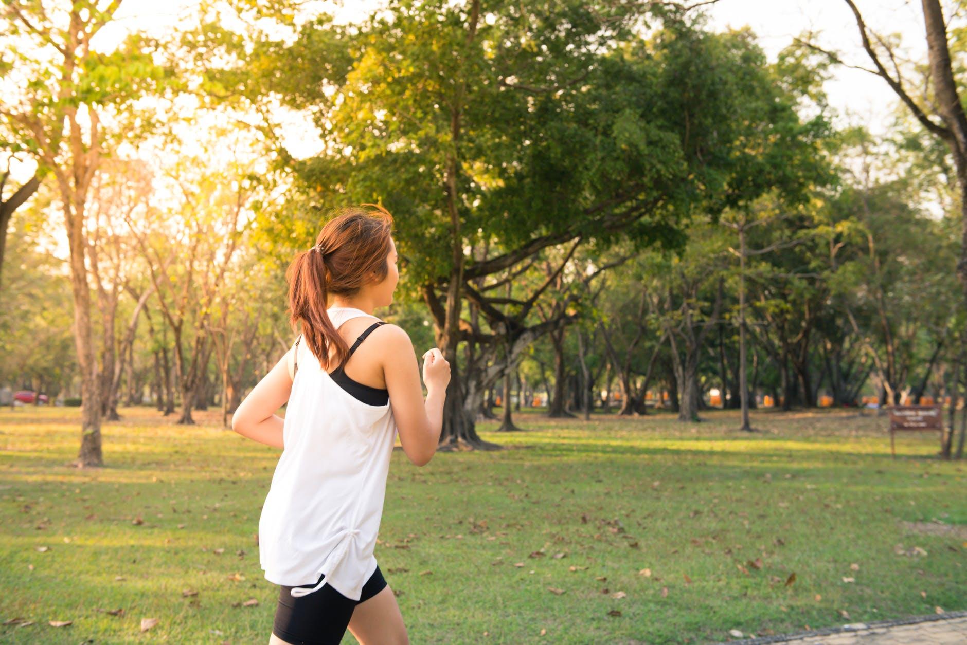 Woman Running from the Coronavirus