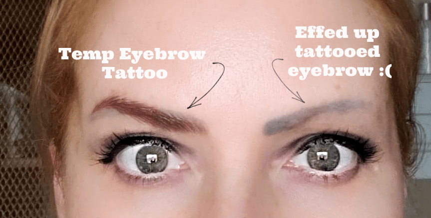 before and after temporary eyebrow tattoos