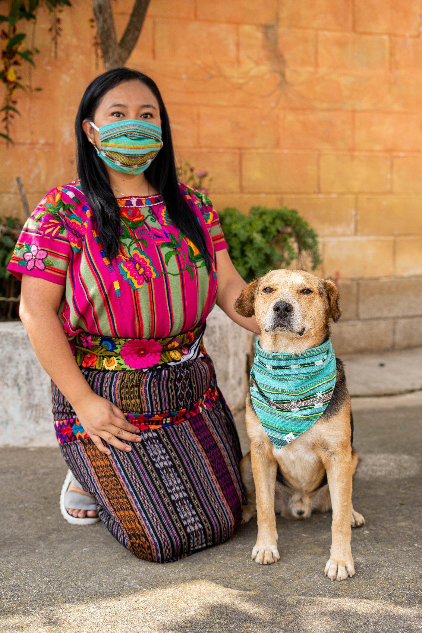 handwoven face masks and dog bandanas