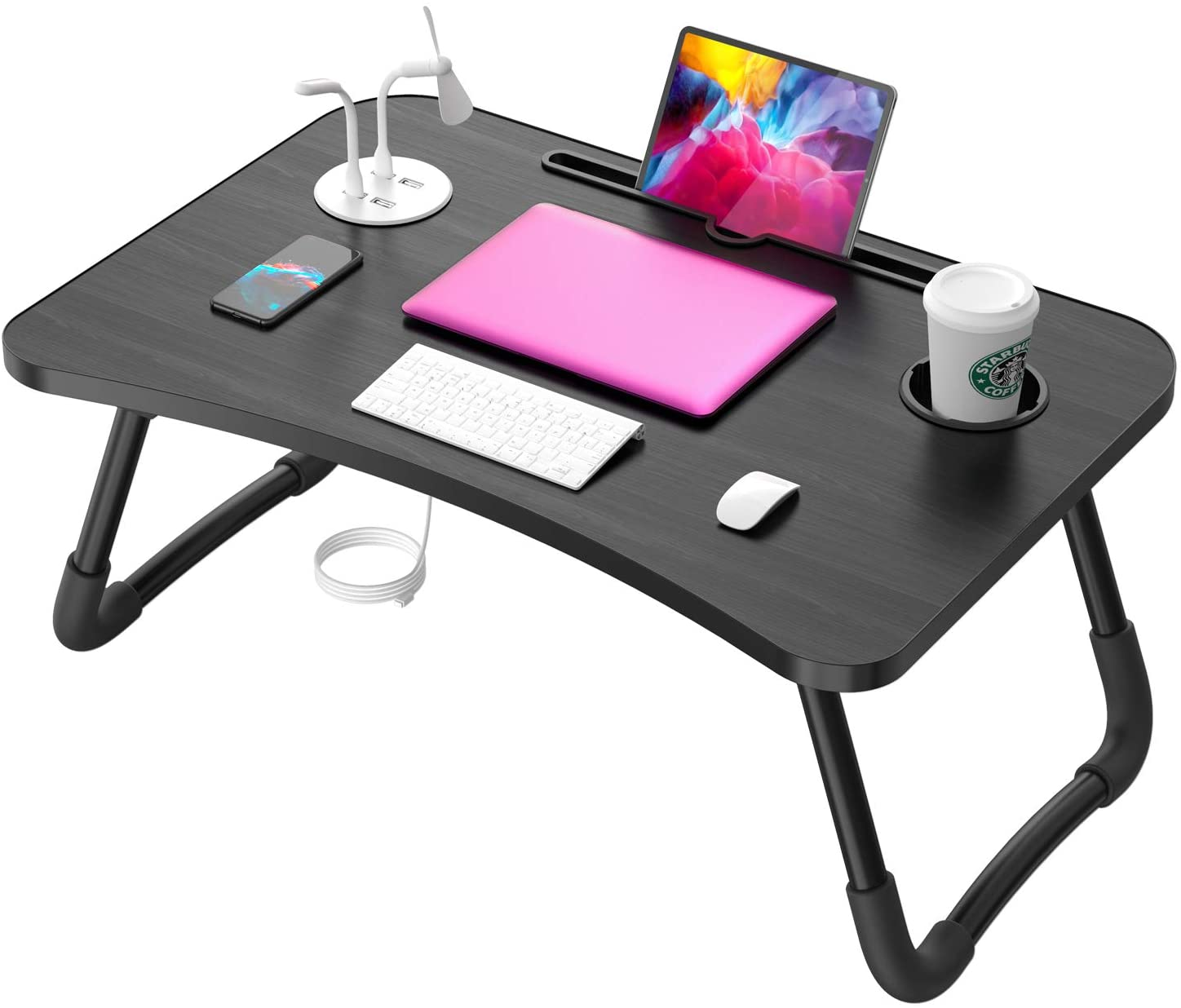 Standing Laptop Desk with USB Plugs And Cup Holder